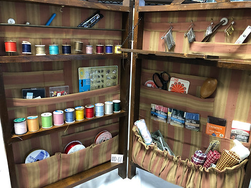 Vintage Portable Wooden Hinged Sewing Cabinet