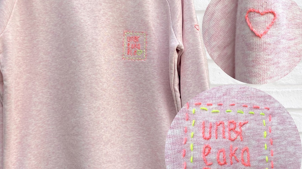 Hand Embroidered Unbreakable Pink Sweater