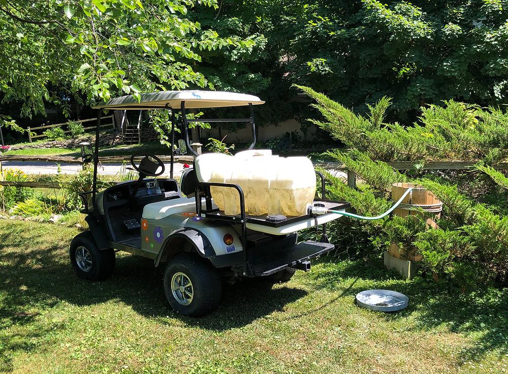 golf cart, water tank, rain barrel