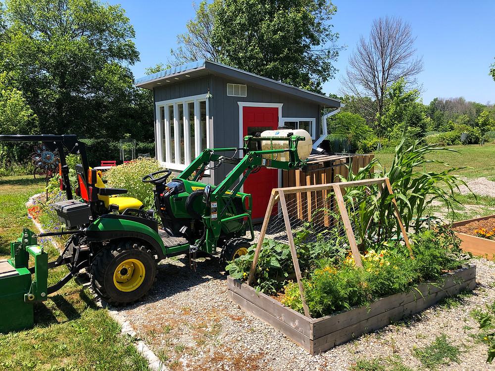 john deere tractor, vegetable garden, rain water collection