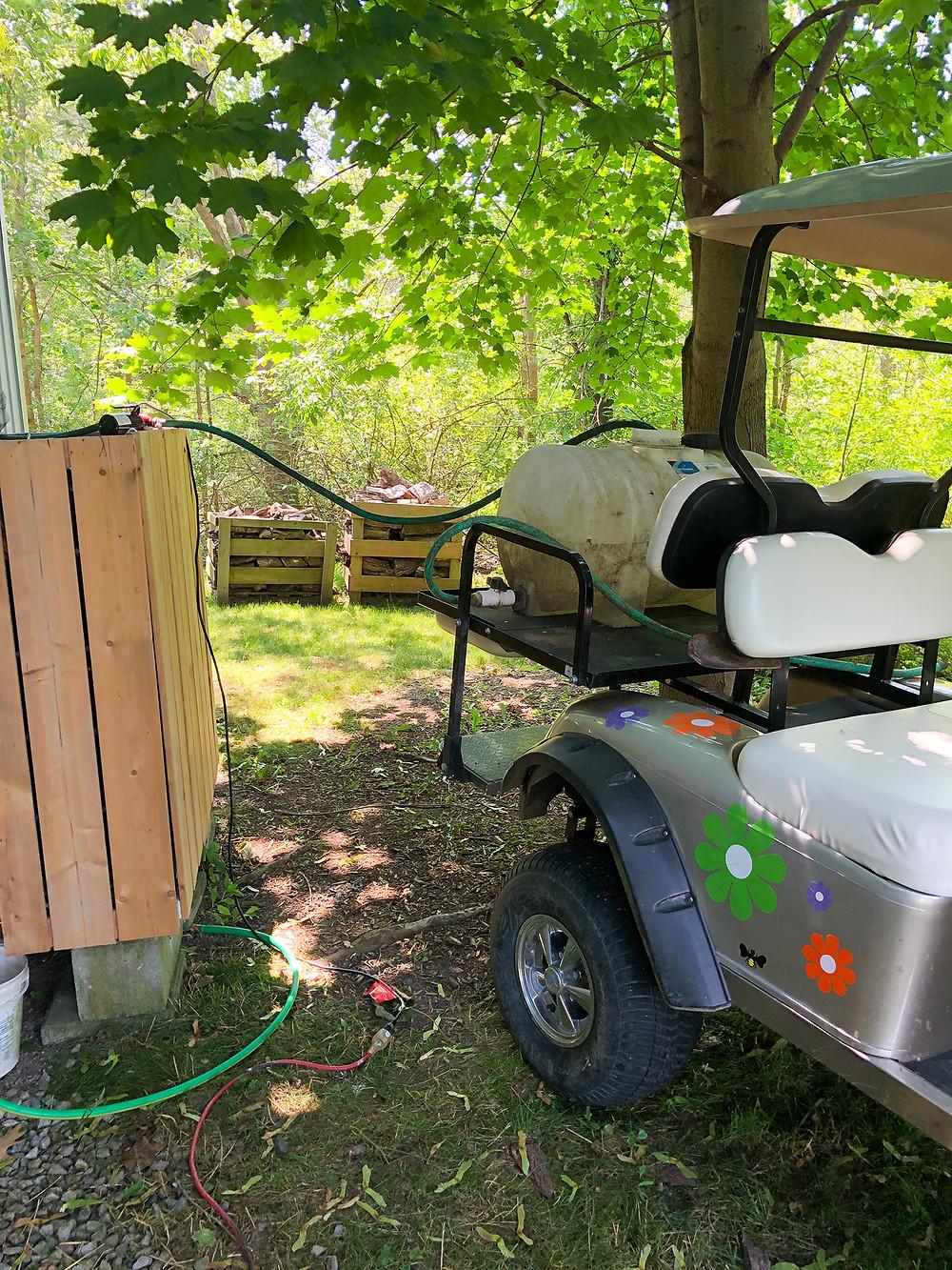 rain water collection, rain barrel, electric golf cart