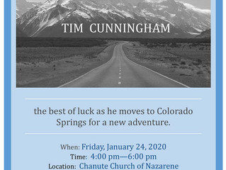 Reception for Tim Cunningham to be held Friday, January 24th