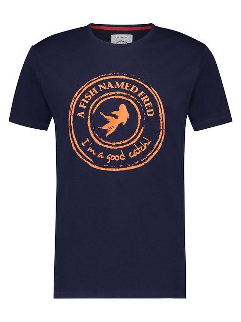 A Fish Named Fred  pánské triko temně modré-oranžový potisk
