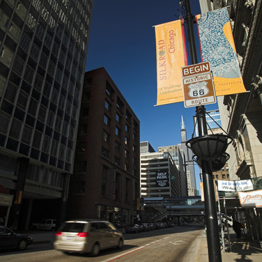 Adam Street in Chicago, where historic Route 66 begins