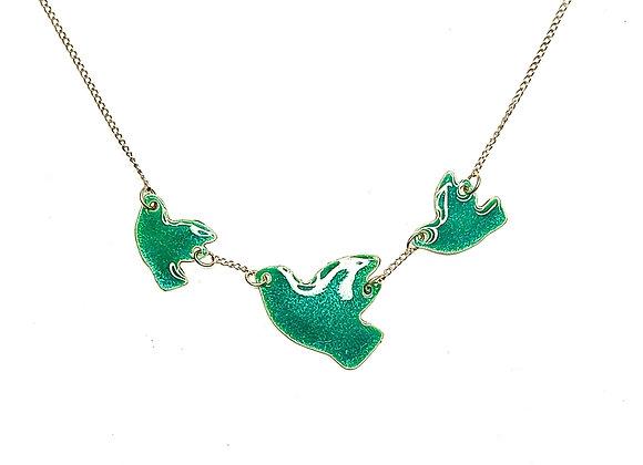 Green Enamel Three Flying Birds Necklace