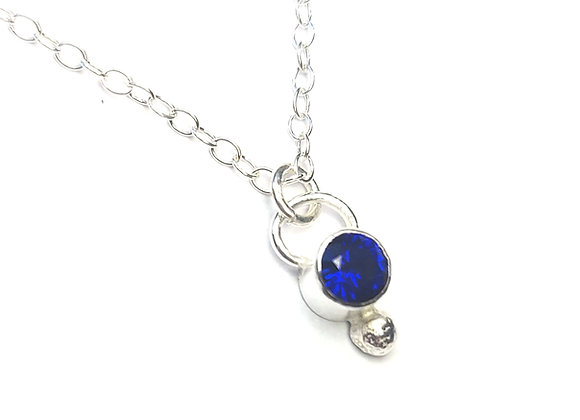 Silver Dots Pendant with Sapphire