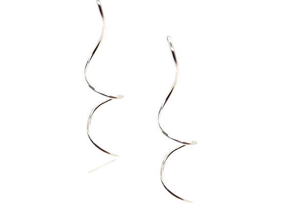 Silver Curl Drop Earrings