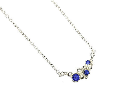 Silver Dots Necklace with Sapphires