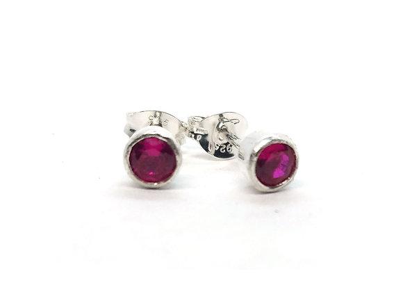 Silver Ruby Stud Earrings - bezel set