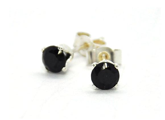 Silver Black Spinel Stud Earrings