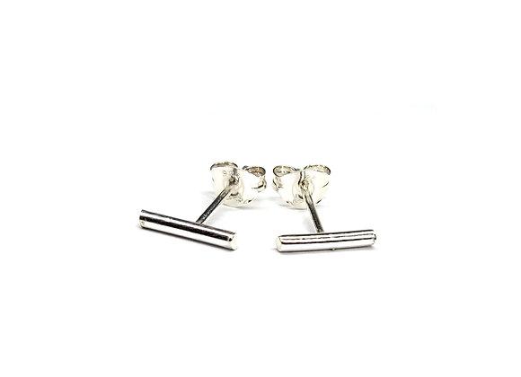 Silver Bar Stud Earrings