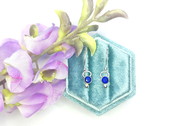 Silver Dots Drop Earrings with Sapphire