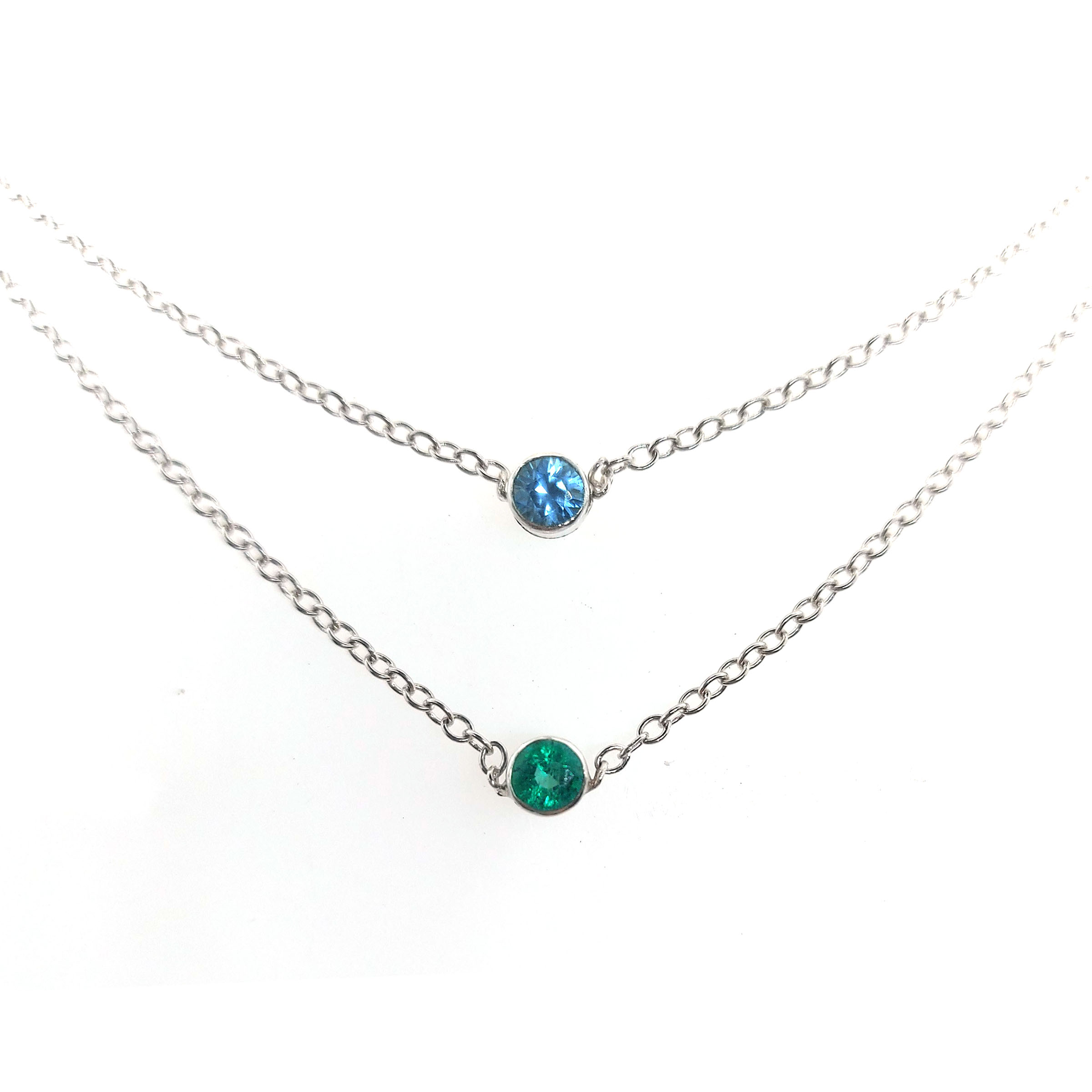 Birthstone-double-necklace-emerald-blue-