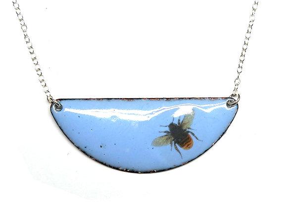 Blue Enamel Bee Half Moon Necklace