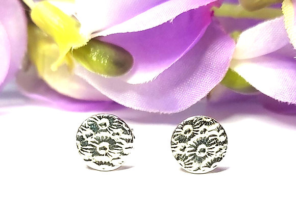 Silver Thimble Flower Stud Earrings