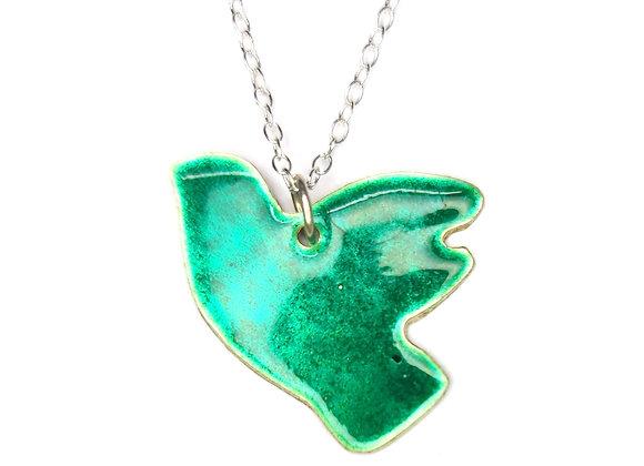 Flying bird enamel pendant