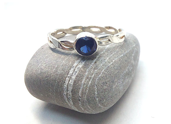 Silver Twist Ring with Blue Sapphire