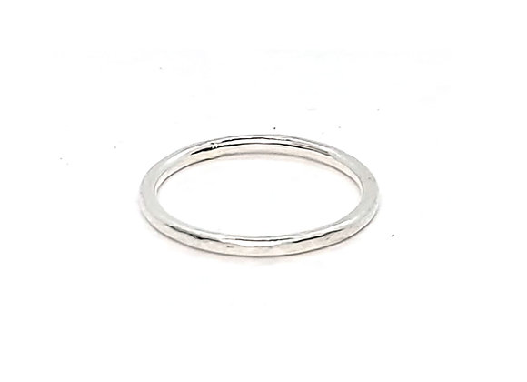Thin silver hammered ring