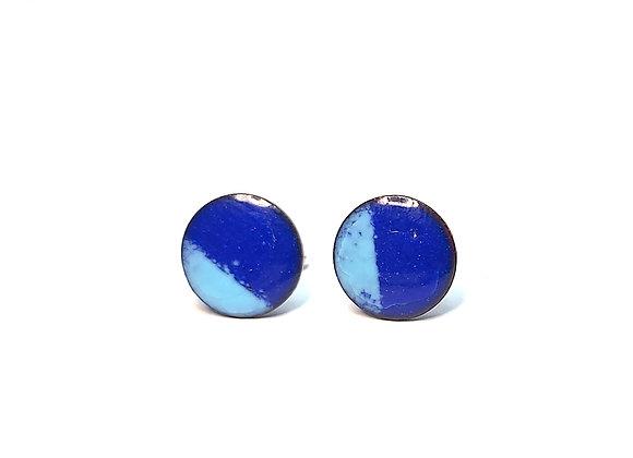 Round enamel coloured stud earrings