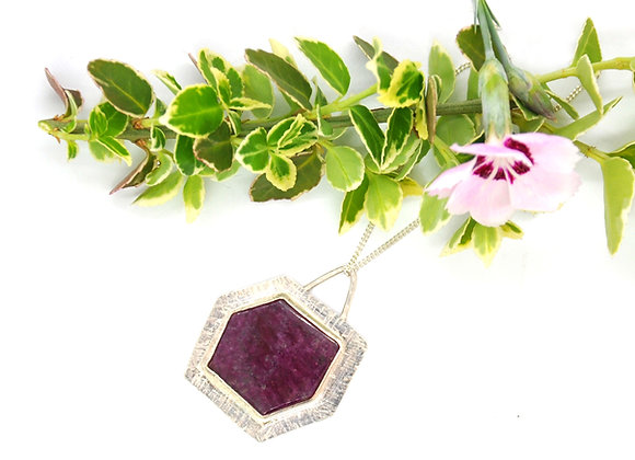 Silver Hexagonal Ruby Pendant