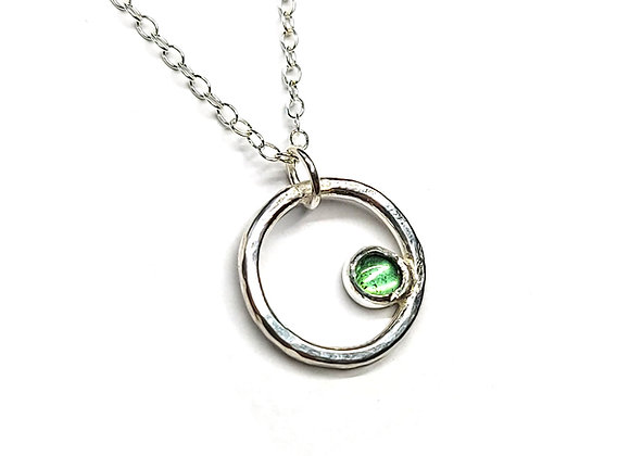 Silver Circle Pendant with Green Tourmaline