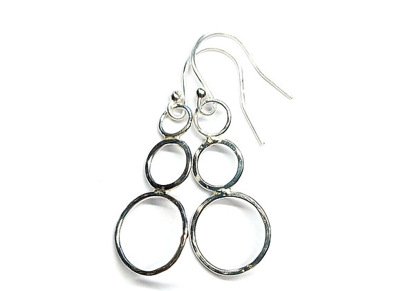Silver Circles Drop Earrings