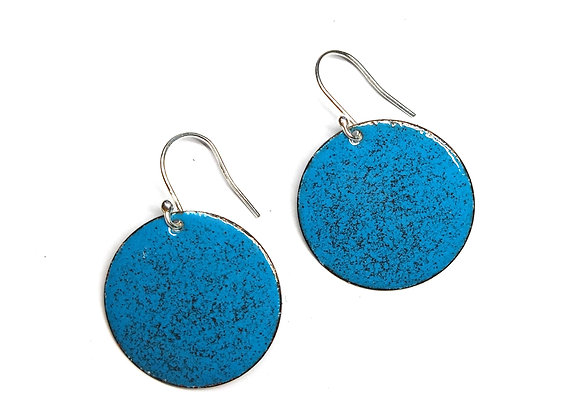 Teal and Red Enamel Speckled Round Drop Earrings