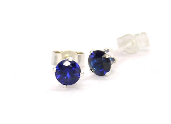 Silver Blue Sapphire Stud Earrings