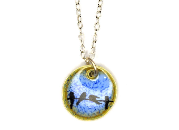 Silver and Enamel Round Pendant with Birds
