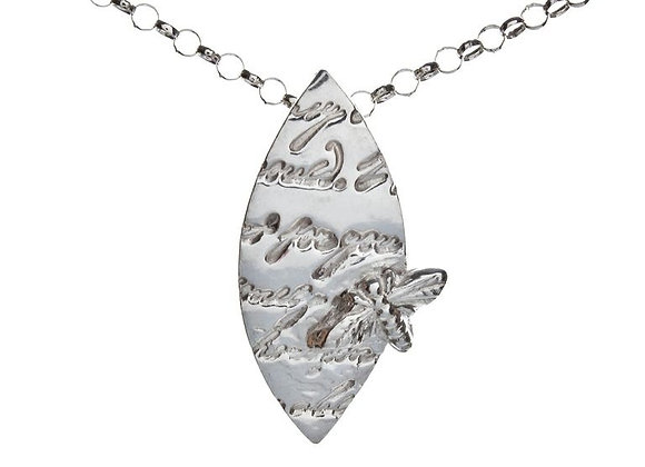 Silver Script Pendant with Moth