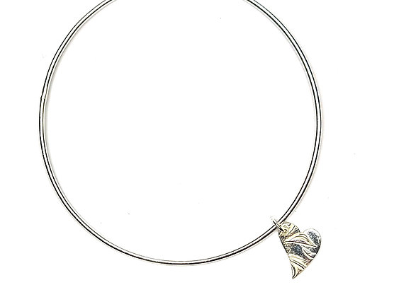 Silver Floral Heart Bangle