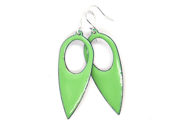 Green Enamel Drop Earrings