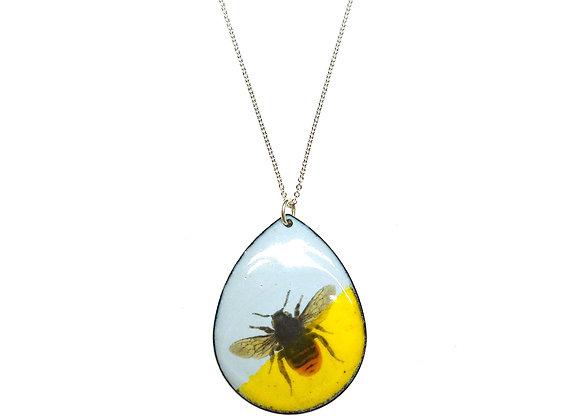 Yellow & Grey Enamel Bee Pendant