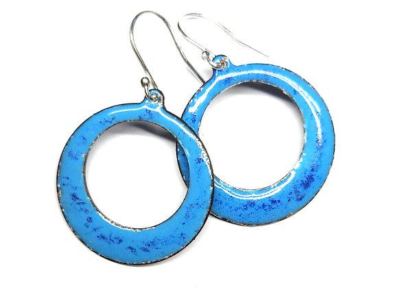 Blue Enamel Open Circle Drop Earrings