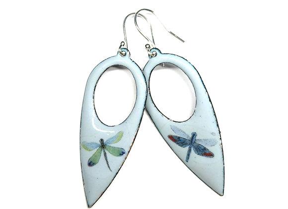 Grey Enamel Dragonfly Drop Earrings