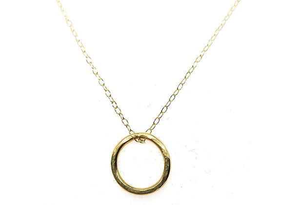 Yellow Gold Hammered Circle Pendant