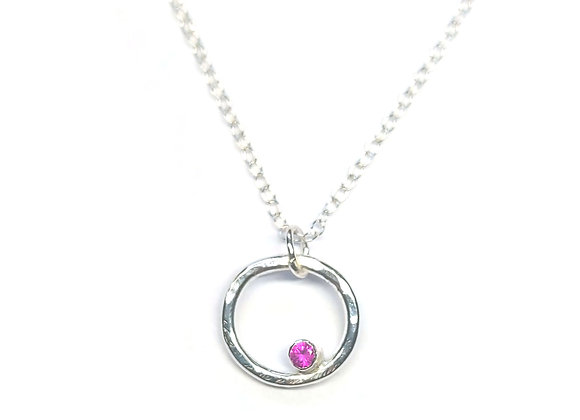 Silver Circle Pendant with Ruby