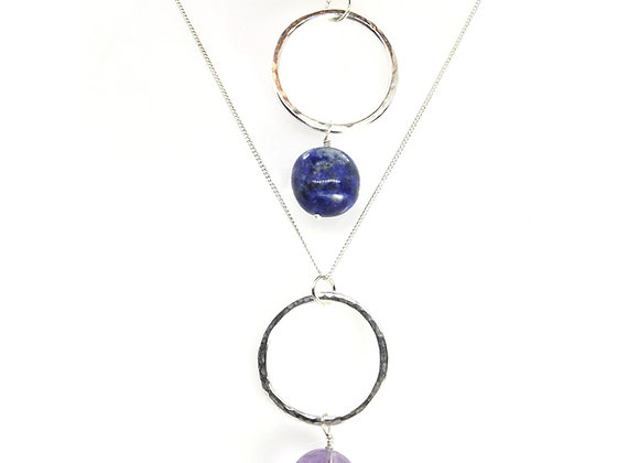 Silver Circle Pendant with Gemstone