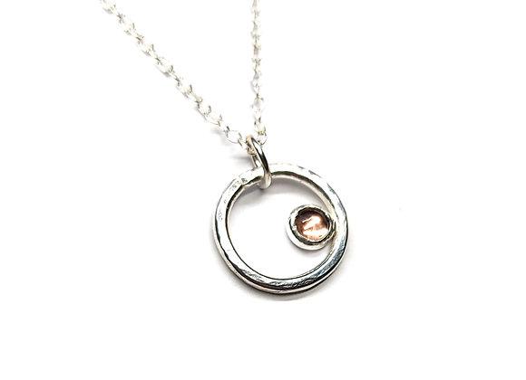 Silver Circle Pendant with Pink Tourmaline