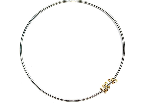 Silver Bangle with Gold Rings