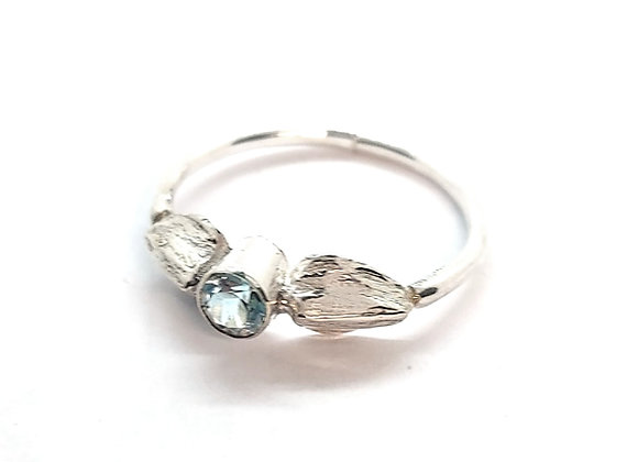 Silver Angel Wings Ring with Blue Topaz