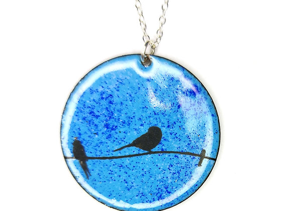 Birds on a wire pendant - round