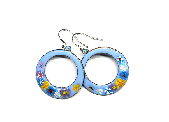 Colourful Floral Circle Drop Earrings