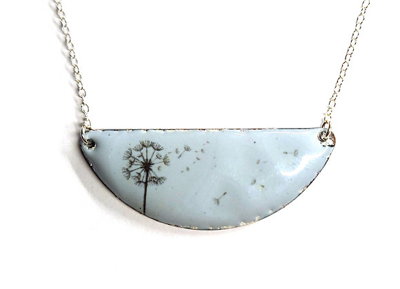 Dandelion Enamel Half Moon Necklace