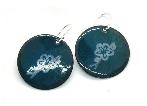 Enamel Flower Drop Earrings