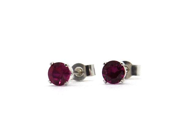 Silver Ruby Stud Earrings