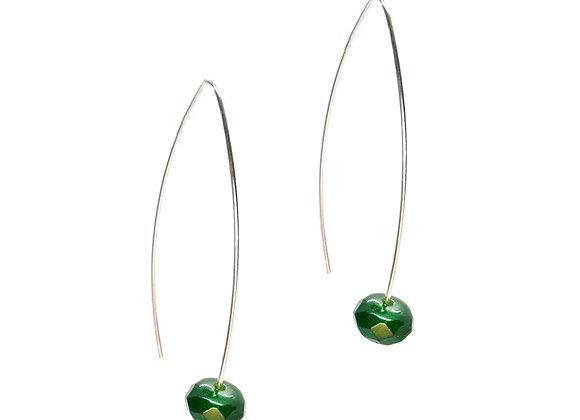 Simple Silver Gemstone Drop Earrings