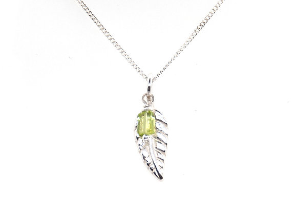 Silver Leaf Pendant with Peridot