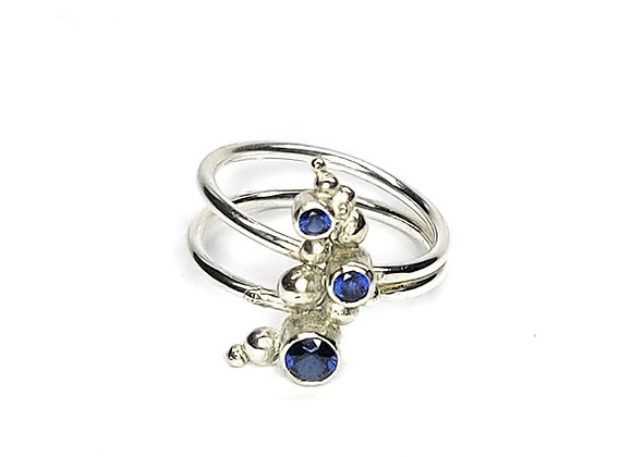 Silver Dots Cluster Ring with Sapphires