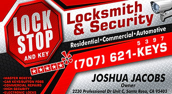 Lock stop business card, santa rosa locksmith, fast locksmith, lockstop, joshua jacobs owner